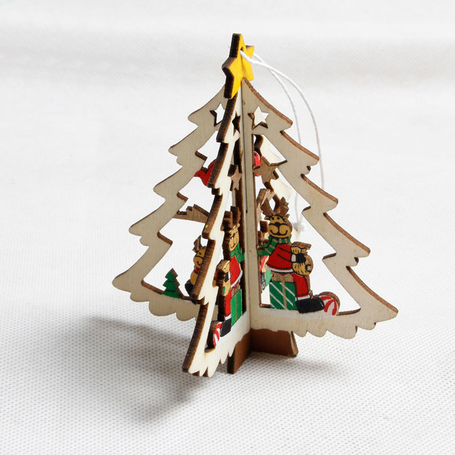 1pc top christmas tree decorations pendant 3d wooden xmas christmas party decor hanging ornament christmas decorations