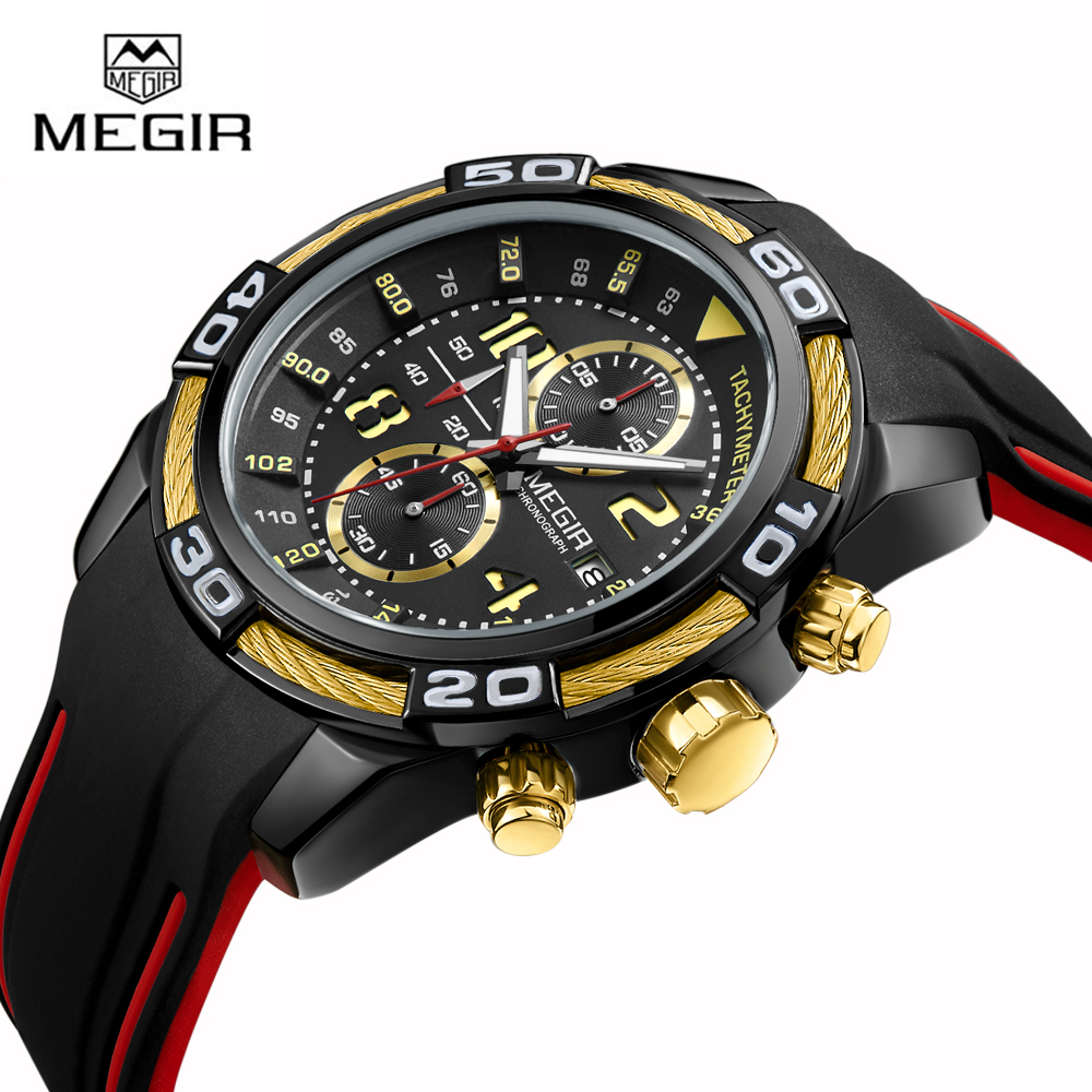 MEGIR 2045 Men's Sport Watch Chronograph Army Military Watches Clock Men Quartz Wrist Watches For Men with Silicone Watch band цена и фото
