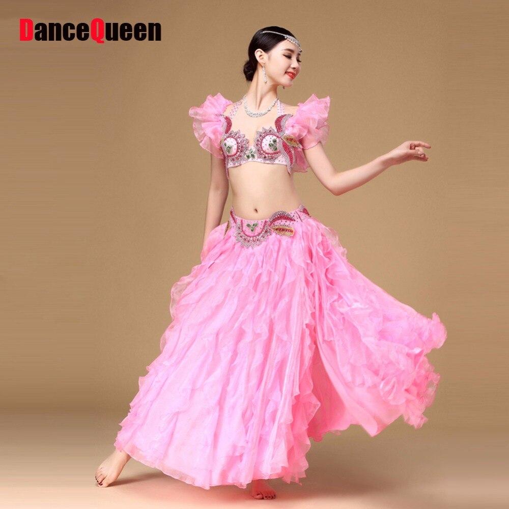 2018 новый этап танец живота костюмы розовый/синий 2 шт. (Beeding бюстгальтер + юбка) шелк вентилятор Danca Danza танцор Del Одежда для танцев Vestido Indiano
