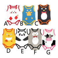 0~24M Sleeveless Baby Bodysuits Summer Baby Boy Clothes Gentlema Bodysuits Newborn Jumpsuit Owl Penguin Cat Panda Cow Chick V20
