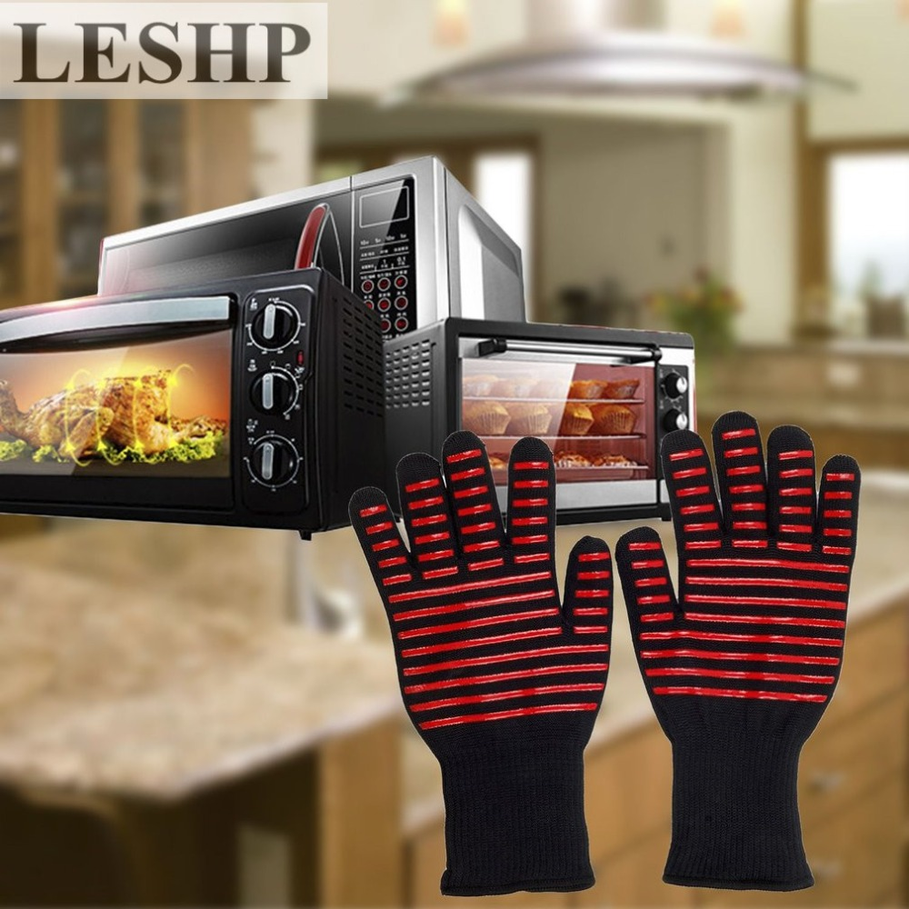 LESHP 1 Pair Microwave Oven Gloves High Temperature Resistance Non-slip Oven Safety Heat Insulation Kitchen Grilling Gloves crestgolf indoor golf mats putting green golf practice green golf training aids with size 0 5x3m and 0 75x3m for choice