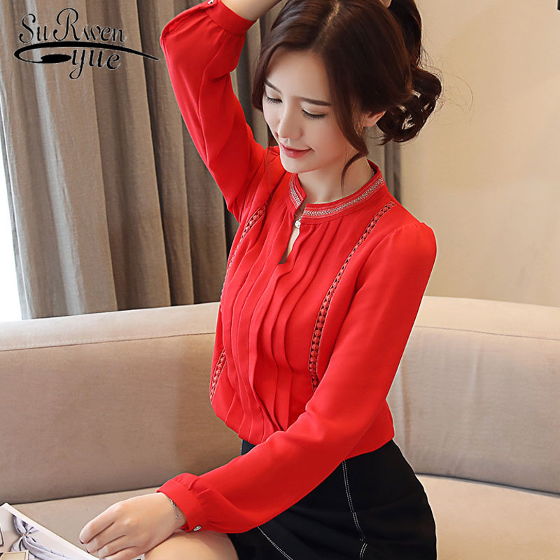 Fashion women tops chiffon OL women   shirts   long sleeve 2019 spring   blouses     shirt   red   blouse   office blusas femininas 2074 50