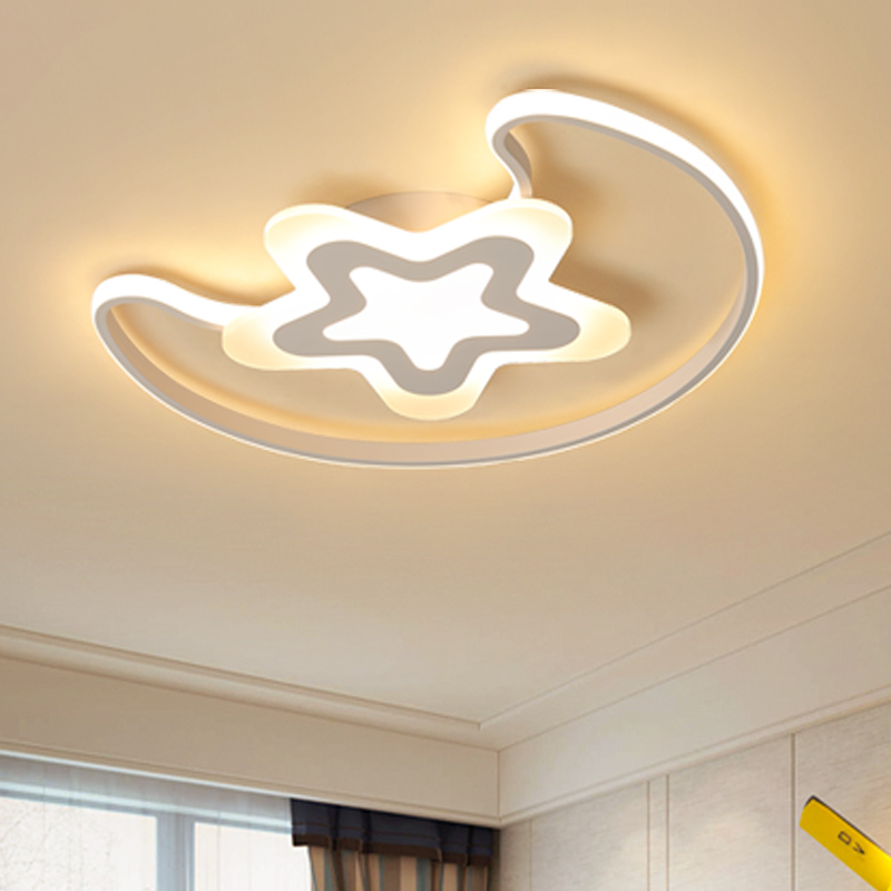 Moon And Star Modern LED Ceiling Lights Iron Acrylic White LED Ceiling Lamp For Bedroom Children's room table lamp home lighting led modern iron acrylic white moon and star led lamp led light ceiling lights led ceiling light ceiling lamp for foyer bedroom