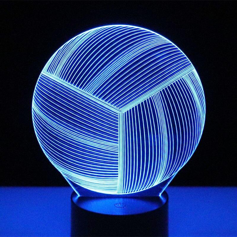 3D LED ночник волейбол с 7 видов цветов для украшения дома лампа потрясающая визуализация Оптическая иллюзия