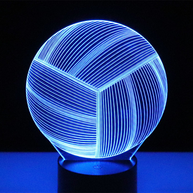 3D LED Night Light Volleyball with 7 Colors Light for Home Decoration Lamp Amazing Visualization Optical Illusion Awesome