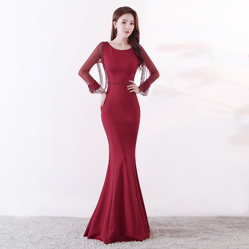 Wine Red Crystal Beaded See Through Voile Full Sleeve Mermaid Long Formal Dresses For Women 2018 Sexy Nightclub Wear Party Dress