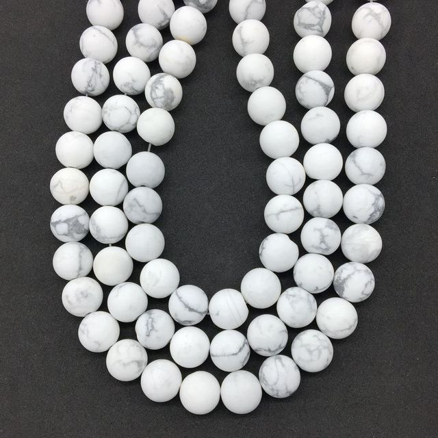 New Arrival Matte Frosted White Howlite Bead Round Stone Loose 6 mm 8 mm 10 mm 12 mm DIY For Making Jewelry