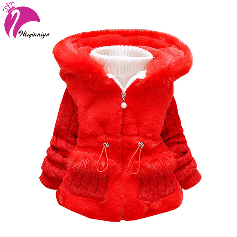 Baby Girls Jacket & Coats New 2017 Winter Fashion Plus Thick Velvet Warm Kids Clothes Casual Hooded Children Clothing Outwears
