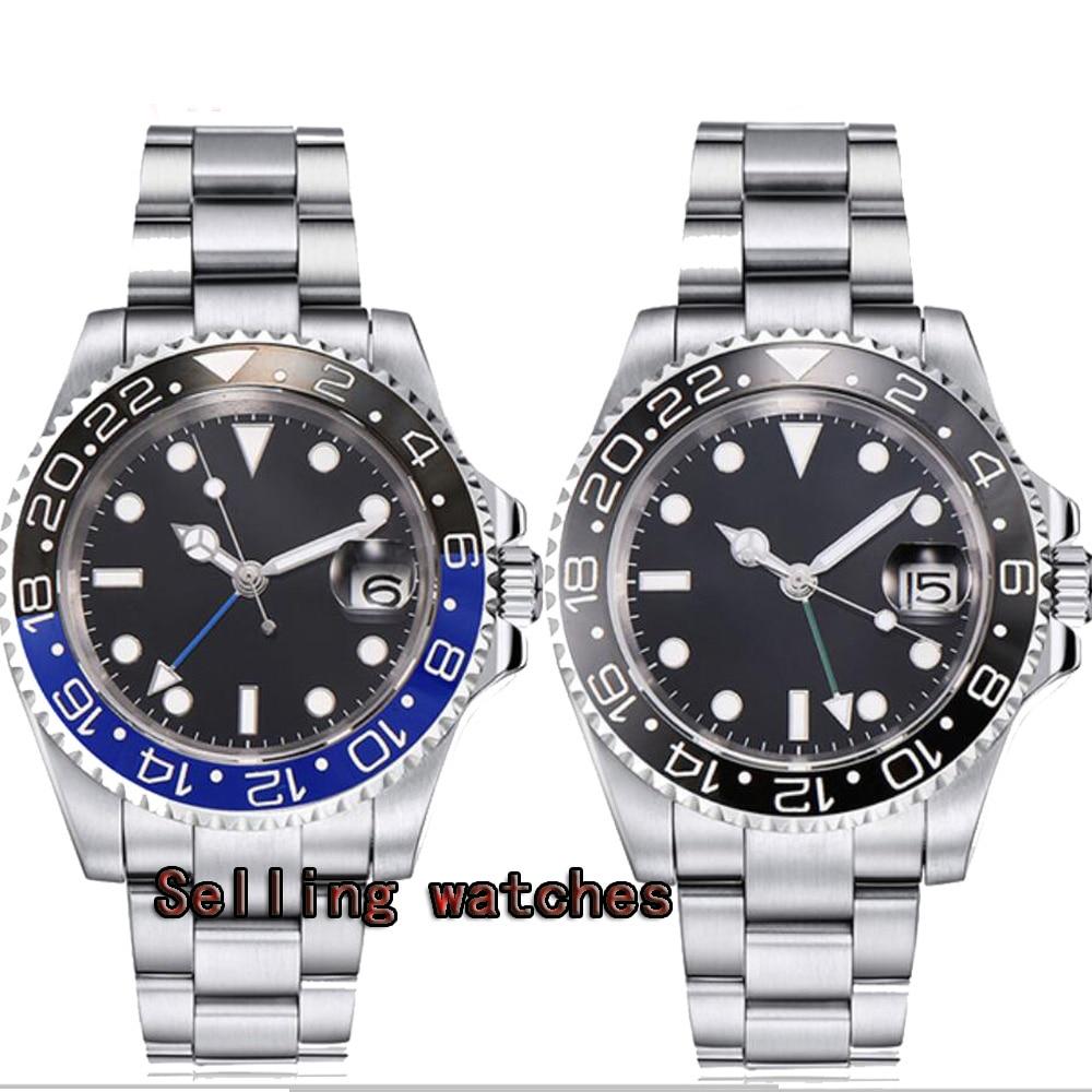 40mm PARNIS Sapphire Crystal GMT Automatic machinery movement luminous men s watches Black blue ceramic bezel