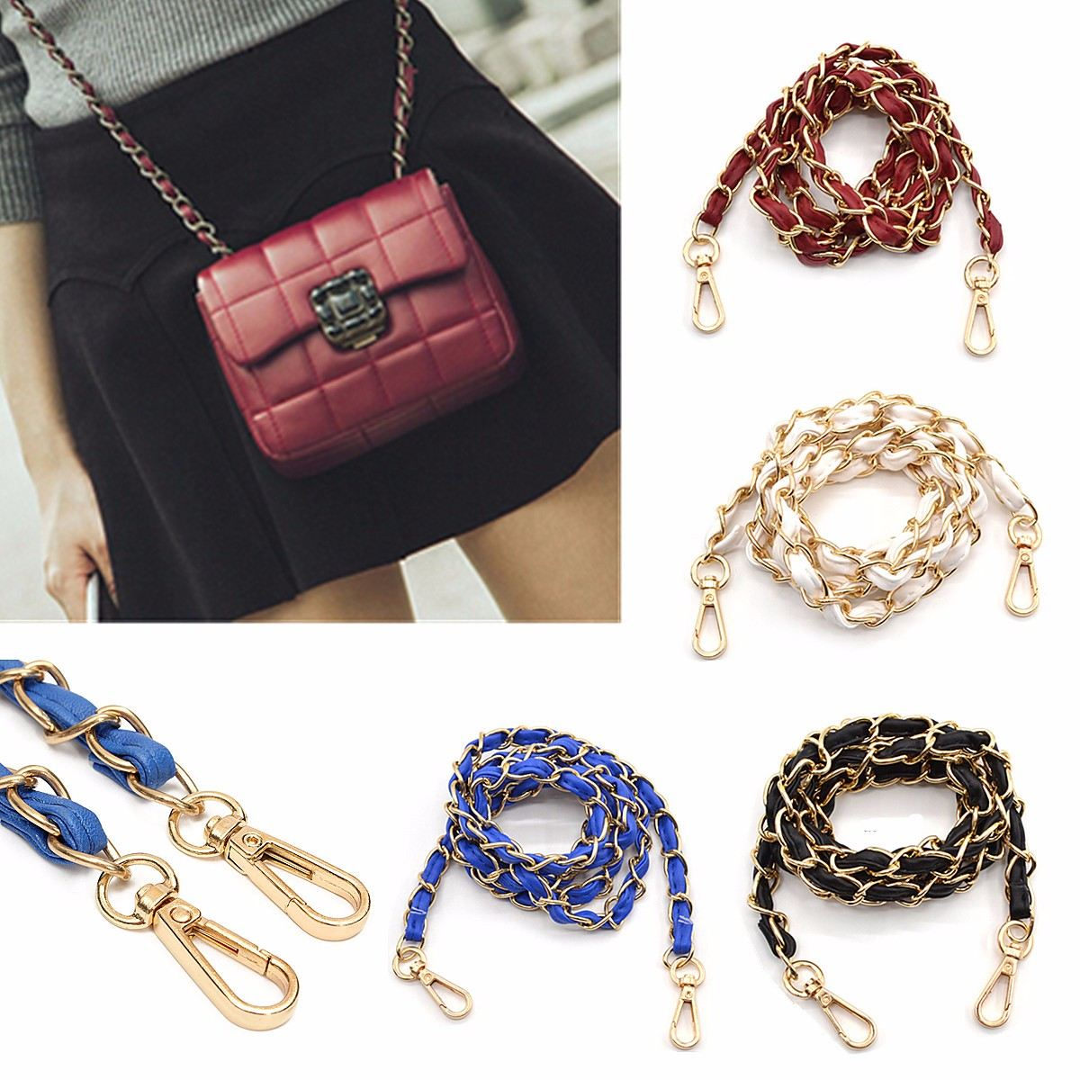 AEQUEEN 130cm Bag Strap Bag Accessories Detachable Replacement Shoulder Belt Leather Bag Strap Handbag Metal Long Chain Bands цены онлайн