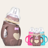 Baby Feeding Glass Bottle Infant Milk Water Feeding Bottle Cartoon Anti fall Silicone Cover with Handle Baby Bottles and Nipples