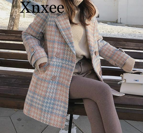 Xnxee 2019 New Women outerwear winter clothing fashion warm woolen blends female elegant Double Breasted woolen