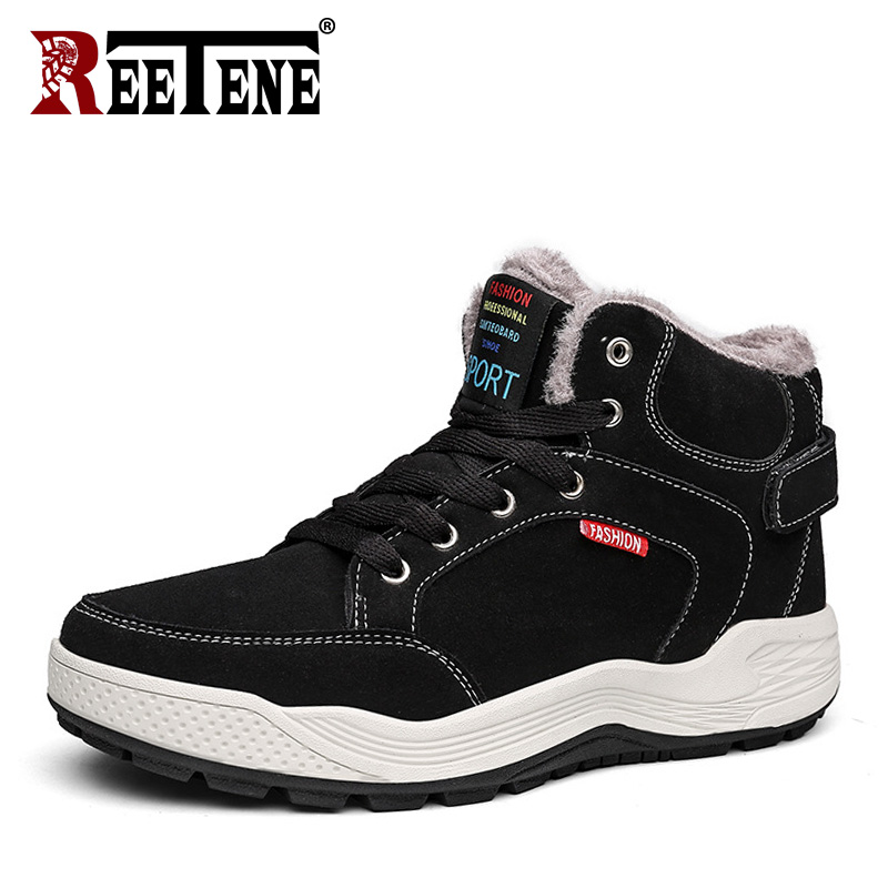 REETENE Hot Sale Winter Warm Fur Men'S Boots Hard-Wearing Men Ankle Boots Warm Men'S Snow Boots Comfortable Lace Up Casual Shoes popular men martin boots winter with fur flat high top hot round toe lace up boots hard wearing warm 2018 cotton boots for male