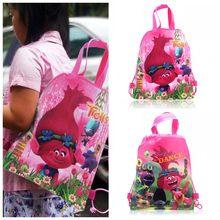 3e5c89b2394 1 PC Trolls niños cordón mochilas bolsas 34 27 CM telas no tejidas niños  fiesta