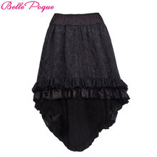 e16e2ebd61 Belle Poque Women's Steampunk Gothic Vintage Skirt Black Floral High Low  Womens Skirts Summer Sexy Party Asymmetrical Lace Skirt