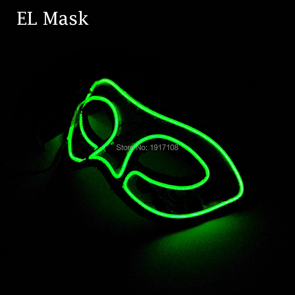 Hot Sale Fashion Party Mask 10 color Available glowing queen Mask LED Mask By 3V Sound Activated Driver For Wedding Decoration