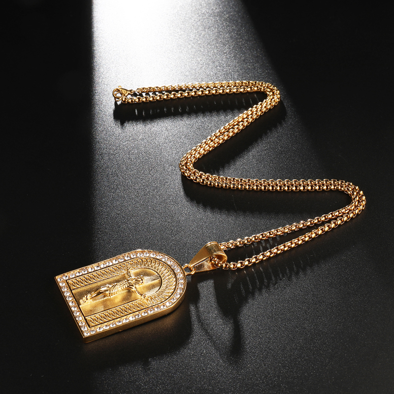 HIP Hop Bling Vintage Rhinestone Bright Christian Jesus Cross Necklaces Pendants Stainless Steel Gold Color For Men Jewelry in Pendant Necklaces from Jewelry Accessories