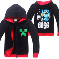 4 14T Spring Autumn Teenage Child Minecraft Creeper Funny Custom Zip Cotton Sweatshirt Cheap Cool Black