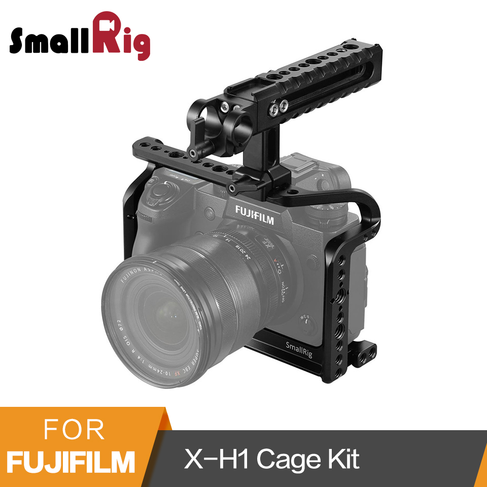 SmallRig For Fujifilm X H1 Cage with Nato Top Handle Built in Arca Swiss Plate 1/4' 20 3/8' 16 Thread Holes 2135