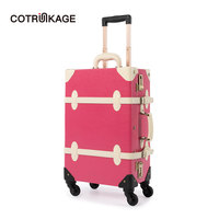 COTRUNKAGE Pink Luggage 20 26 Retro Pu Leather Womens Vintage Suitcase Ladies Girl Rolling Travel Luggage Trunk with Wheels