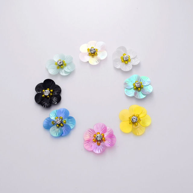 DIY 30mm Wholesale 100pcs Fabric Embellishments Iron on Handmade Flower  Beaded Hairbow Girls Boutique Sewing Craft 6b4073cddaa4