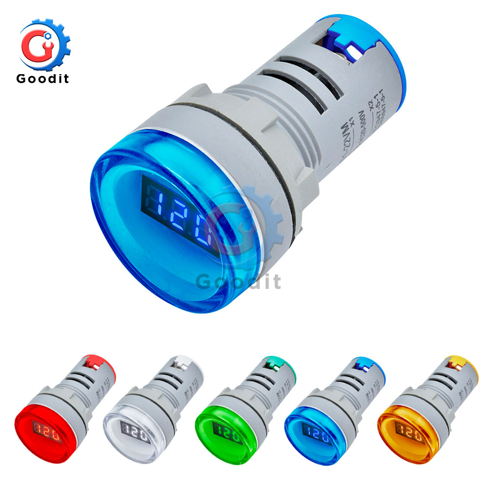 AD16-22DSV Type AC 60-500V Mini Voltage Meter LED Digital Display AC Voltmeter Indicator Light/Pilot Lamp 110V 220V 22MM AD16