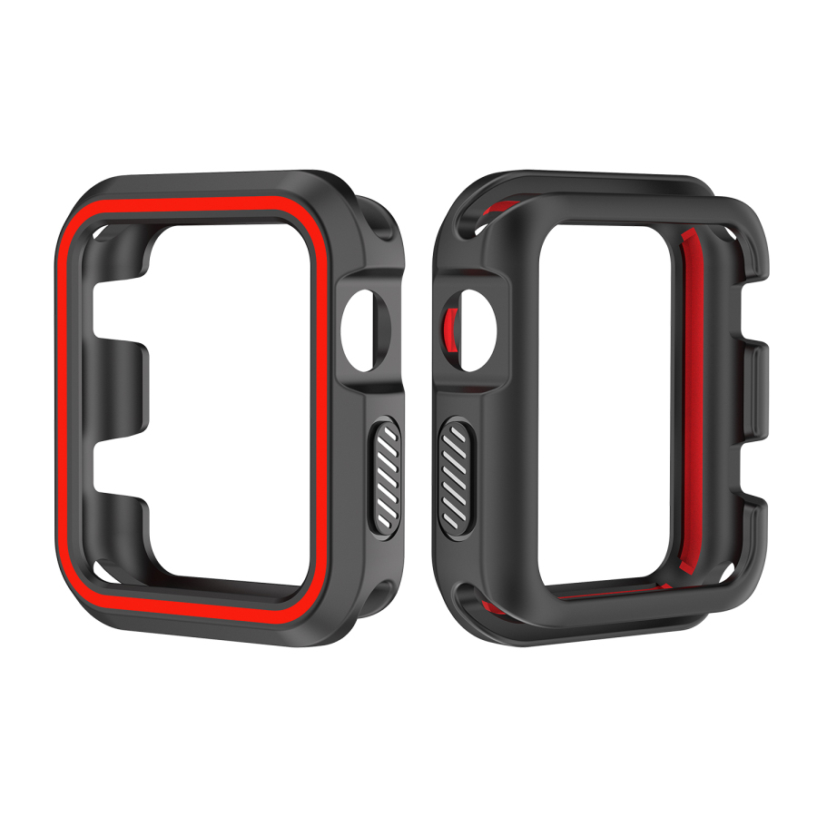 38MM/42MM Sport Silicone Cover Frame Soft Rubber Full Protector Protective Case Double Color For Apple Watch Series 1 2 3 Bumper ultra thin protective silicone bumper frame for iphone 5 red black