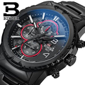 Genuine Swiss BINGER luxury brand Men sapphire military leather full steel watch waterproof calendar conquer luminous stopwatch