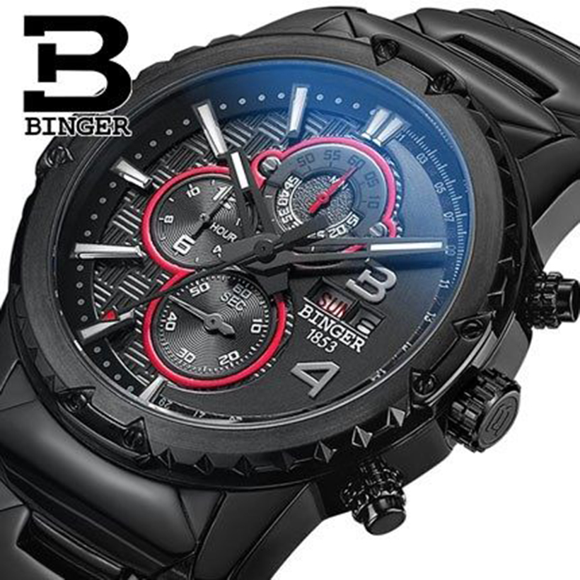 Genuine Switzerland BINGER brand Men sapphire military leather full steel watch waterproof calendar conquer luminous stopwatch цена