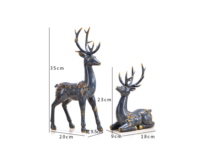 2pcs Set Creative Resin Diamond Couple Deer Statue European Retro Style Desktop Crafts Sculpture Home Decoration Ornaments 82 Statues Sculptures Aliexpress