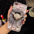 Para iphone 6 case capa luxo glitter rhinestone fox cabeça pele de pelúcia pc case para iphone 6 s 5s 6 plus tampa bling do diamante claro