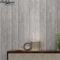 Beibehang Wallpaper Solid Color Plain Wood Board Wood Grain 3D Pressure Non Woven Wallpaper Bedroom Living