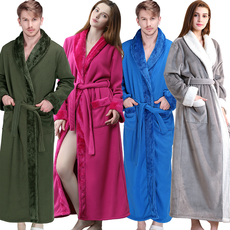 Detail Feedback Questions about Women Men Winter Extra Long Thick Fleece  Warm Bathrobe Luxury Flannel Fur Bath Robe Super Soft Thermal Dressing Gown  Sexy ... fd65bbb21