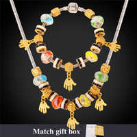 Charms Necklace Bracelet Set Cute Hands Gold Plated Crystal Glass Bead Snake Chain DIY Jewelry Sets