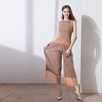 Wrinkled Spring Autumn Women Pelated Tops Wide Leg Trousers Two Pieces Clothing Sets