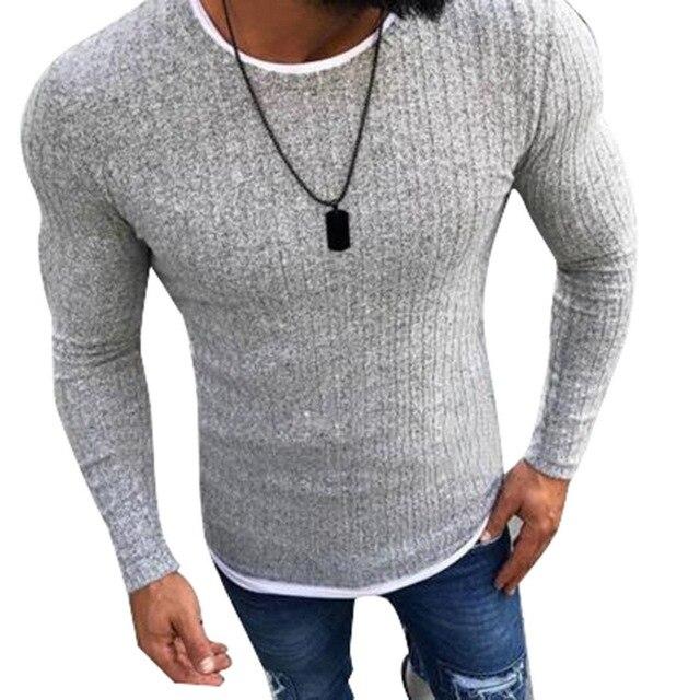Laamei 2019 גברים של סתיו סקסי סקיני סוודר מוצק סרוג סוודר דק סוודר O-צוואר Slim סוודר סוודרים בתוספת גודל 5XL