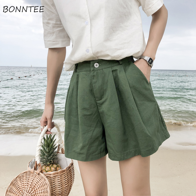 Shorts Women Loose Simple Straight Leisure High Quality Trendy Womens Summer 2020 Korean Female Clothing Wide Leg Short Students
