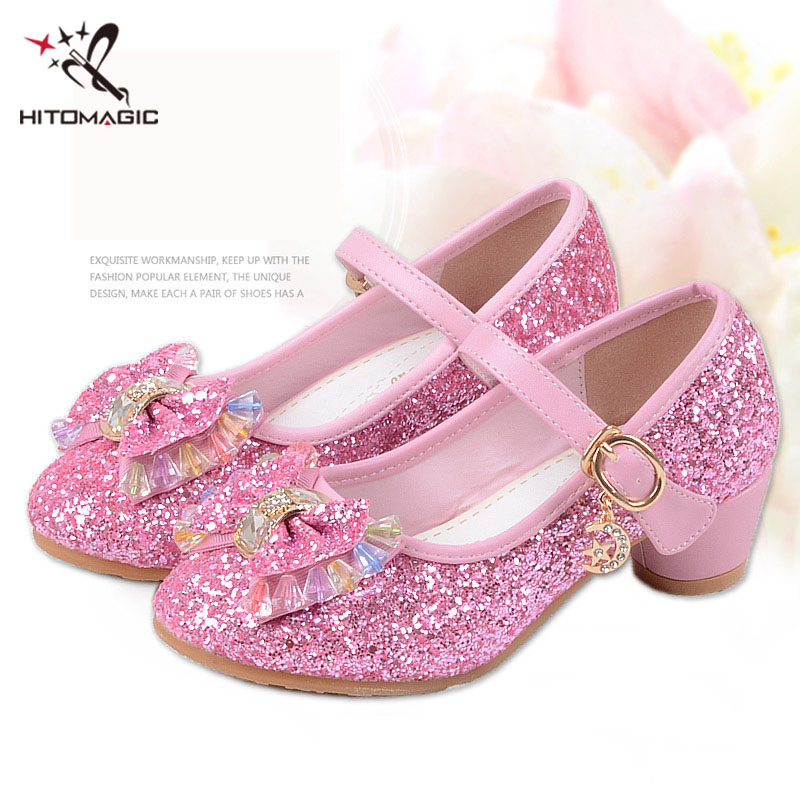 HITOMAGIC High Heel Shoes For Dance Children's Shoes For Girls Princess Shoe Girl Children Footwear Leather Lady Party Dress