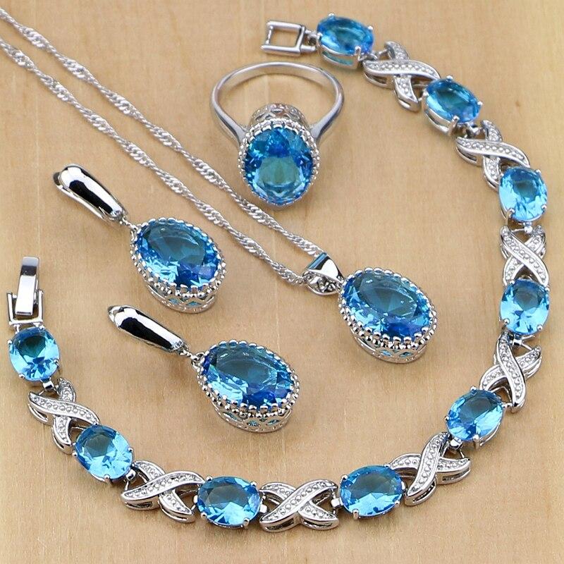 Plata 925 joyería azul Birthstones joyería conjuntos para mujeres boda pendiente/colgante/Collar/anillos/pulsera