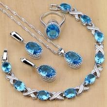 Серебро 925 ювелирные изделия Синий Камень Ювелирные наборы для женщин Свадебные серьги/кулон/цепочки и ожерелья/кольца/браслет