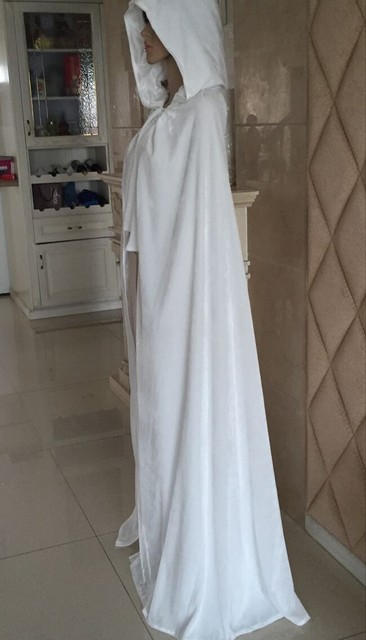 Cosplay Free Shipping New White Velvet Satin Lined Hooded Vampire Cape Halloween Party Wedding Cloak