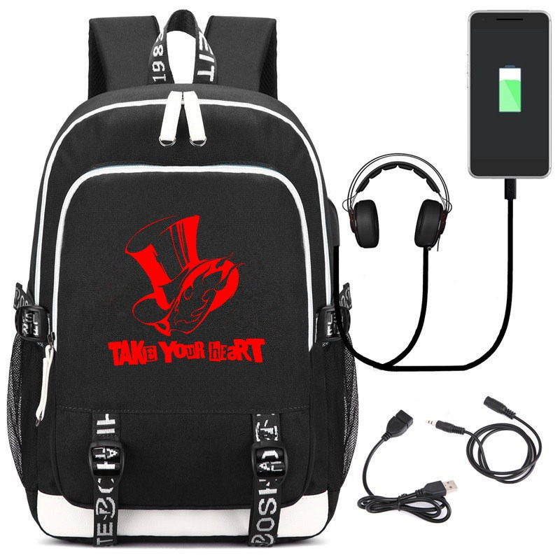 PS Game <font><b>Persona</b></font> <font><b>5</b></font> USB <font><b>Backpack</b></font> School Bookbag Knapsack Teens Men Women Cartoon Laptop Travel Shoulder Bag image
