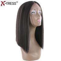 Short Bob Lace Front Wigs Yaki Straight Middle Part Natural Black Kanekalon Ombre Colors Synthetic Hair Wigs For Women X TRESS