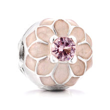 941b55ad0 Authentic 925 Sterling Silver Bead Charm Enamel Blooming Dahlia Clip Lock  Stopper Beads Fit Pandora Bracelet