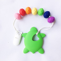 Silicone Turtle Baby Teething Toy Turtle Teething Rattle Silicone Teethers With Pacifier Clip Sensory Toy Infant