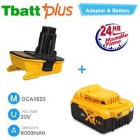 Dewalt DCB206 20V 20 Volt Max XR 6.0Ah Lithium Ion Battery & DCA1820 Dewalt Battery Adapter for 18V Tools Replacement DC9096