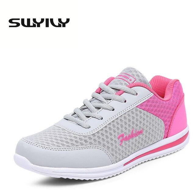 8f6ca40810f Malha Respirável Mulheres Correndo Sapatos Laçadas Calcanhar Plana Cor  Misturada Peso Leve Confortável Das Mulheres Das