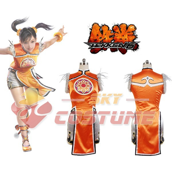 Hot Cosplay Costume Tekken 6 Ling Xiaoyu Dress+Shorts+Legging Women Girls Halloween Cosplay Costume Full Set