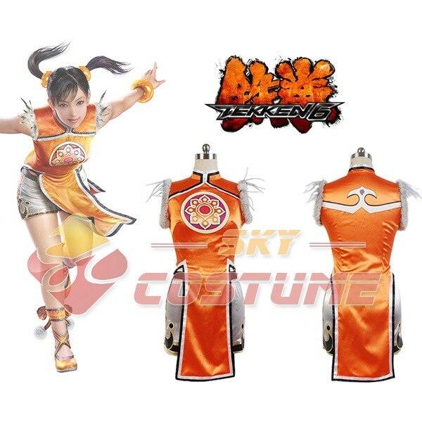 Hot Cosplay Costume Tekken 6 Ling Xiaoyu Dress+Shorts+Legging Women Girls Halloween Cosplay Costume Full Set