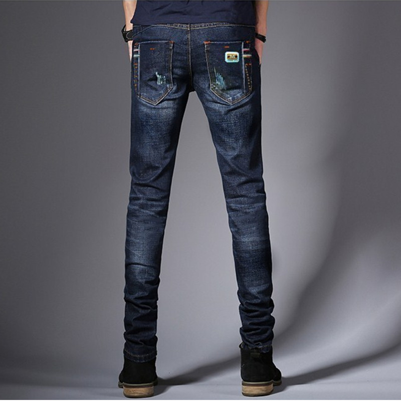 [EL BARCO] Cotton Denim Jeans Men Slim Soft Breathable Solid Blue Male Casual Long Pants Straight Pockets Trousers Size 28-34 xmy3dwx n ew blue jeans men straight denim jeans trousers plus size 28 38 high quality cotton brand male leisure jean pants